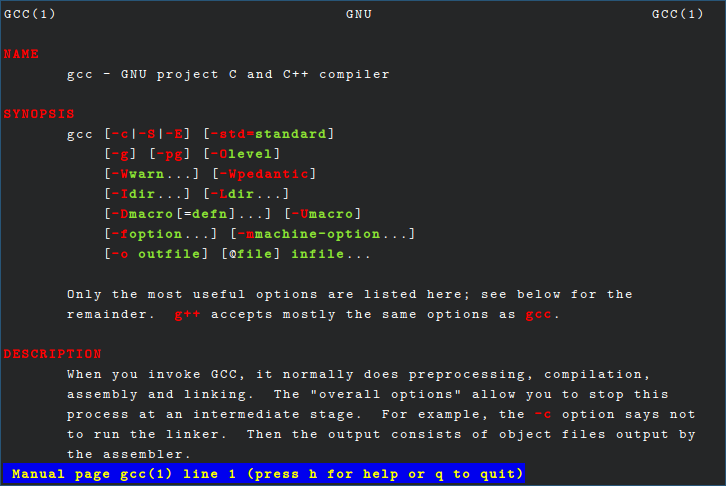 A colorized version of `man gcc`