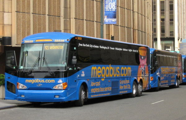 Megabus with route number.