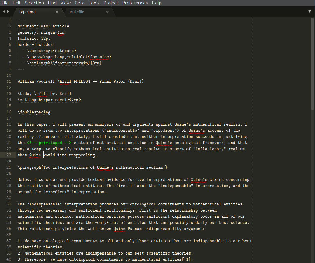 Sublime Text Paper Composition.